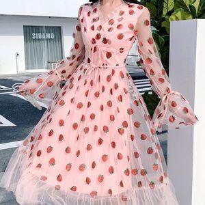 Brand new maxi strawberry sequin dress